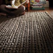 Urbane Sepia Thick Pile Braided Wool Rug by Rug Guru