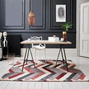 V&A Salon Red Grey Wool Luxmi Rug by Flair Rugs