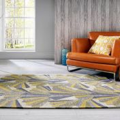 V&A Fanfare Ochre Wool Luxmi Rug by Flair Rugs