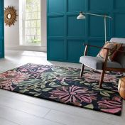 V&A Honeysuckle Black Multi Wool Luxmi Rug by Flair Rugs