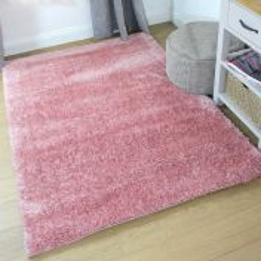 Velvet Pink Plain Shaggy Rug by Flair Rugs