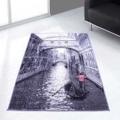 Themed Poly Venice Grey Graphics Modern Rug by Rug Style