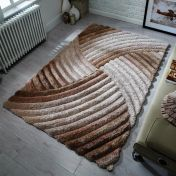 Verge Furrow Natural Hand Carved Shaggy Rug by Flair Rugs