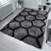 Verge Honeycomb Charcoal Shaggy Rug by Flair Rugs