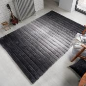 Verge Ombre Grey Striped Shaggy Rug by Flair Rugs