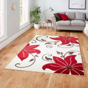 Verona OC15 Beige Red Floral Rug  By Think Rugs