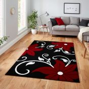 Verona OC15 Black Red Floral Rug  By Think Rugs