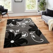 Verona OC15 Grey Black Floral Rug  By Think Rugs