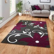 Verona OC15 Grey/Purple Floral Rug by Think Rugs