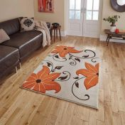 Verona OC15 Beige Terracotta Floral Rug By Think Rugs