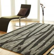 Unique Vine Stripe Design Wool Rug by Prestige