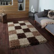 Vista 2247 Chequered Beige Brown Shaggy Rug By Think Rugs