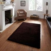 Vista 2236 Brown Solid Plain Shaggy Rug By Think Rugs