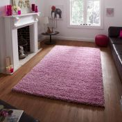 Vista 2236 Pink Solid Plain Shaggy Rug By Think Rugs