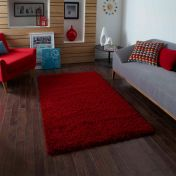 Vista 2236 Red Solid Plain Shaggy Rug By Think Rugs