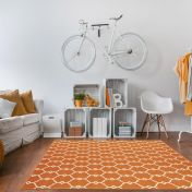 Vitaminic Trellis Orange Geometric Rug By Unique Rugs