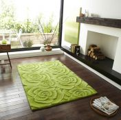 Valentine VL-10 Green Wool Rug By Think Rugs