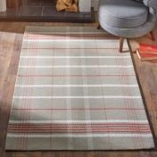 Winnie Red Natural Chequered Wool Rug by Origins