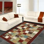 Woodstock 032 0036 8312 Brown Chequered Rug by Mastercraft