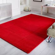 Wool Squares Red Chequered Wool Rug By Flair Rugs