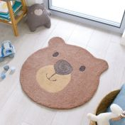 Zest Kids Bear Face Brown Rug by Flair Rugs